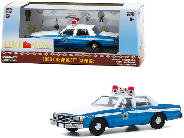 "1986 Chevrolet Caprice Blue and White Police Car ""Home Alone"" (1990) Movie 1/43 Diecast Model Car by Greenlight"