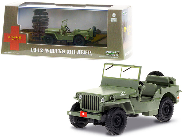 "1942 Willys MB Jeep Army Green ""M*A*S*H"" (1972-1983) TV Series 1/43 Diecast Model by Greenlight"