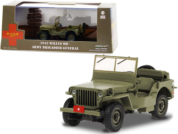 "1942 Willys MB Army Green ""Army Brigadier General"" ""MASH"" (1972-1983) TV Series 1/43 Diecast Model by Greenlight"
