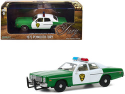 "1975 Plymouth Fury ""Chickasaw County Sheriff"" Green and White 1/43 Diecast Model Car by Greenlight"