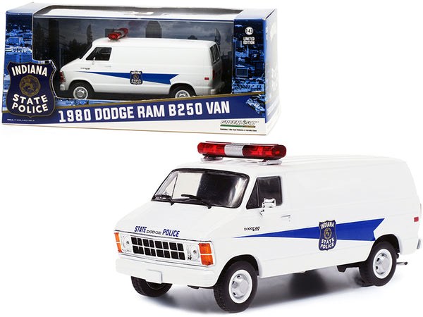"1980 Dodge Ram B250 Van White ""Indiana State Police"" 1/43 Diecast Model by Greenlight"