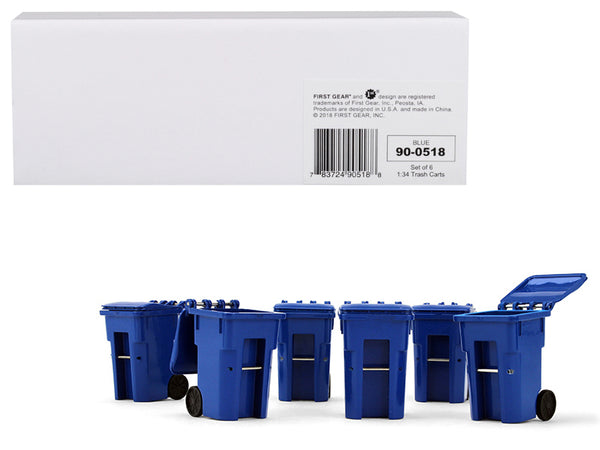 Blue Garbage Trash Bin Container Replicas (6 Piece Set) 1/34 Models by First Gear