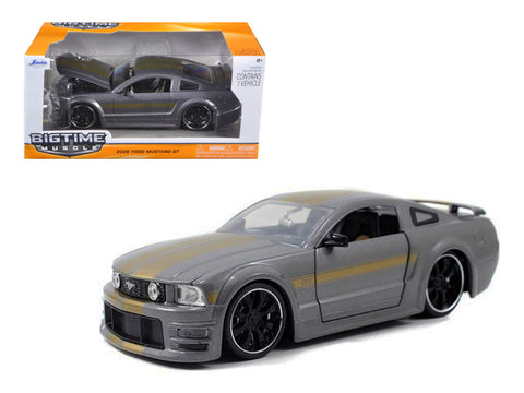 2006 Ford Mustang GT Grey With Gold Stripes 1/24 Diecast Model Car by Jada