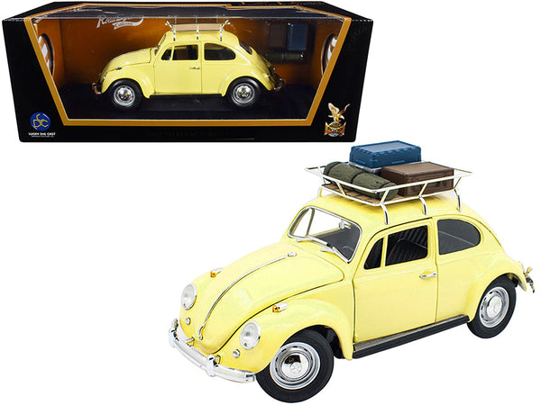 1967 Volkswagen Beetle with Roof Rack and Luggage Yellow 1/18 Diecast Model Car by Road Signature