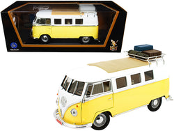 1962 Volkswagen Microbus with Roof Rack and Luggage Yellow and White 1/18 Diecast Model by Road Signature