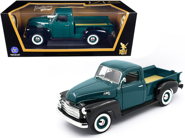 1950 GMC Pickup Truck Dark Green and Black 1/18 Diecast Model by Road Signature