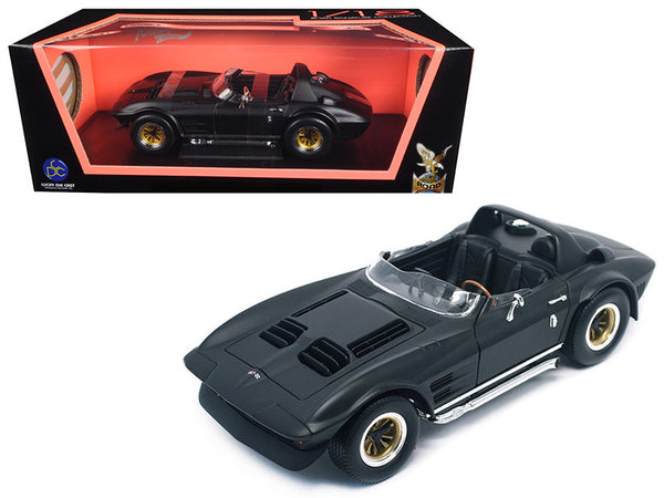 1964 Chevrolet Corvette Grand Sport Roadster Matte Black 1/18 Diecast Model Car by Road Signature