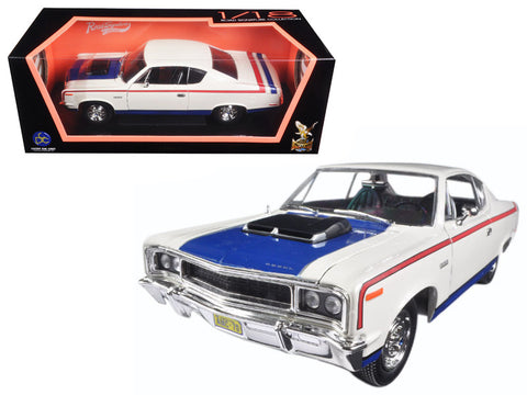 1970 AMC Rebel White with Red and Blue Stripes 1/18 Diecast Model Car by Road Signature