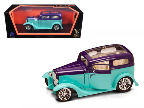 "1931 Ford ""Model A"" Sedan Green/Purple 1/18 Diecast Model Car by Road Signature"