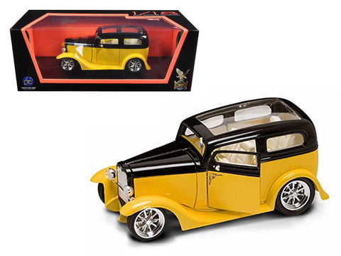 "1931 Ford ""Model A"" Sedan Yellow/Black 1/18 Diecast Model Car by Road Signature"