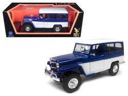 1955 Willys Jeep Station Wagon Blue 1/18 Diecast Model Car by Road Signature