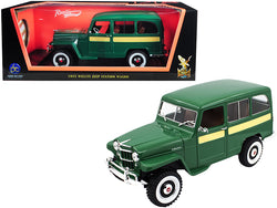 1955 Willys Jeep Station Wagon Green with Yellow Stripes 1/18 Diecast Model Car by Road Signature