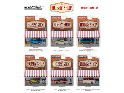 "The ""Hobby Shop"" Series #3 (6 Car Set) 1/64 Diecast Models by Greenlight"