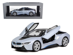BMW i8 Ionic Silver/Matet Blue 1/18 Diecast Model Car by Paragon