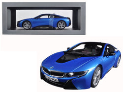 BMW i8 Protonic Blue and Frozen Grey 1/18 Diecast Model Car by Paragon