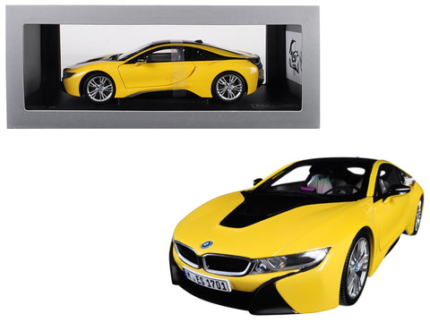 BMW i8 Speed Yellow with Black Top 1/18 Diecast Model Car by Paragon