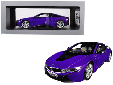 BMW i8 Purple with Black Top 1/18 Diecast Model Car by Paragon