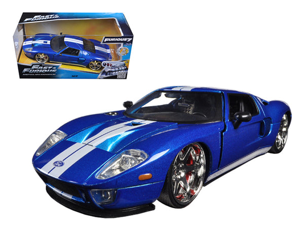 "Ford GT Blue with White Stripes ""Fast & Furious 7"" (2015) Movie 1/24 Diecast Model Car by Jada"