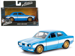 "Brian's Ford Escort Blue and White ""Fast & Furious"" Movie 1/32 Diecast Model Car by Jada"