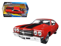 "Dom's Chevrolet Chevelle SS Red with Black Stripes ""Fast & Furious"" Movie 1/24 Diecast Model Car by Jada"