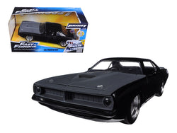 "Letty's Plymouth Barracuda Matte Black ""Fast & Furious 7"" Movie 1/24 Diecast Model Car by Jada"