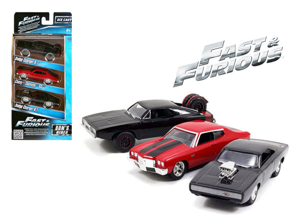 """Fast and Furious"" Dom's Rides Dodge Chargers and Chevelle (3 Piece Set) 1/55 Diecast Model Cars by Jada"