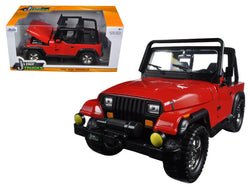 1992 Jeep Wrangler Red 1/24 Diecast Model Car by Jada