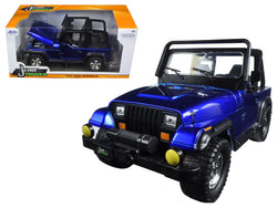 1992 Jeep Wrangler Metallic Blue 1/24 Diecast Model Car by Jada