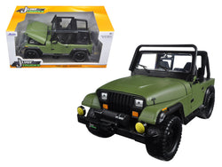 1992 Jeep Wrangler Matte Green 1/24 Diecast Model Car by Jada