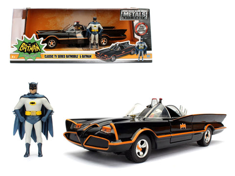 1966 Classic TV Series Batmobile with Diecast Batman and Plastic Robin 1/24 Diecast Model Car by Jada