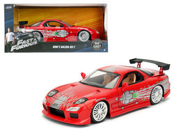 "Dom's Mazda RX-7 Red ""Fast and Furious"" Movie 1/24 Diecast Model Car by Jada"