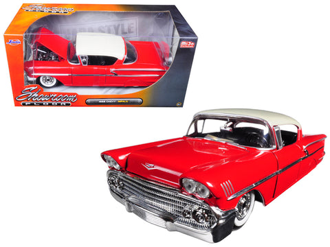 "1958 Chevrolet Impala Red ""Showroom Floor"" 1/24 Diecast Model Car by Jada"