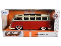 "1962 Volkswagen Bus Red and Cream ""Bigtime Kustoms"" 1/24 Diecast Model by Jada"