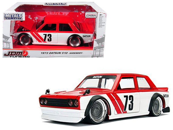 "1973 Datsun 510 Widebody #73 Red ""JDM Tuners"" 1/24 Diecast Model Car by Jada"