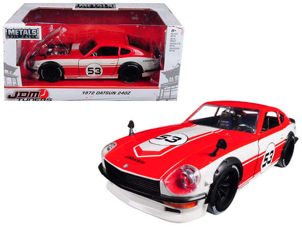 "1972 Datsun 240Z #53 Red and White ""JDM Tuners"" 1/24 Diecast Model Car by Jada"