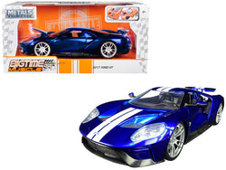 "2017 Ford GT Candy Blue with White Stripes ""Bigtime Muscle"" 1/24 Diecast Model Car by Jada"