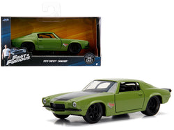 "Dom's 1973 Chevrolet Camaro ""F-Bomb"" Green ""Fast & Furious"" Movie 1/32 Diecast Model Car by Jada"