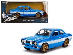 "1970 Brian's Ford Escort Blue with White Stripes ""Fast & Furious"" Movie 1/24 Diecast Model Car by Jada"