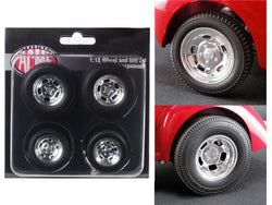 "Polished Drag Wheels and Tires (Set of 4) from a ""1941 Gasser"" 1/18 Diecast by Acme"