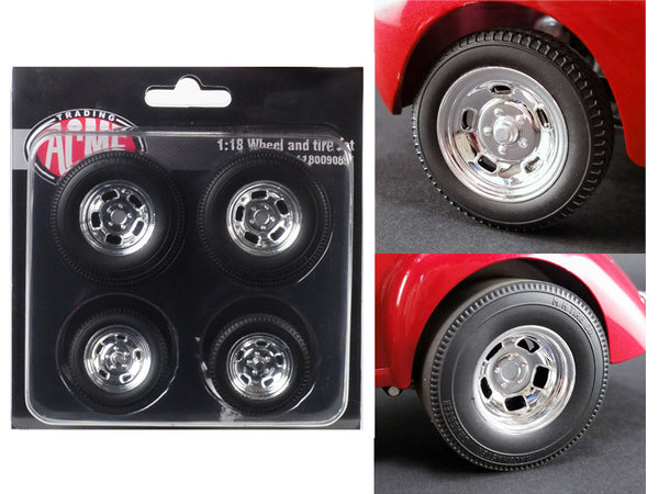 "Polished Drag Wheels and Tires (4 Piece Set) from a ""1941 Gasser"" 1/18 Diecast by Acme"