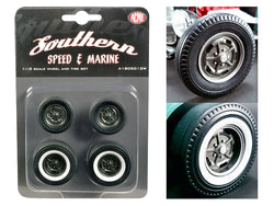 "1932 Ford ""5 Window"" Southern Speed and Marine Kidney Bean Hot Rod Wheels and Tires (Set of 4) 1/18 Diecast by Acme"