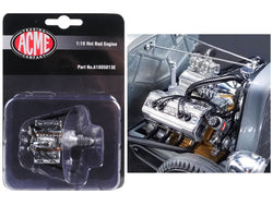 "Engine and Transmission Replica Chromed Blown Ardun Flathead from a 1932 Ford ""5 Window"" Hot Rod 1/18 Diecast  by Acme"