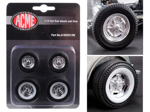 "Chrome Salt Flat Wheels and Tires (4 Piece Set) from a 1932 Ford ""5 Window"" Hot Rod 1/18 Diecast by Acme"