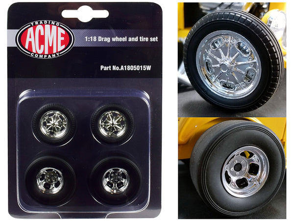 "Chrome Drag Wheel and Tire (Set of 4) from a 1932 Ford ""3 Window"" 1/18 by Acme"