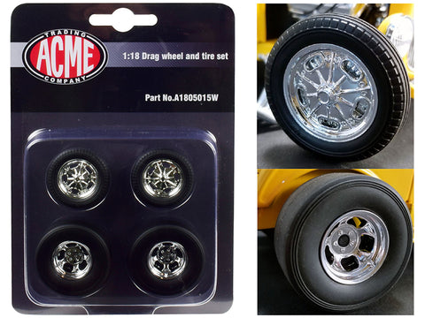 "Chrome Drag Wheels and Tires (4 Piece Set) from a 1932 Ford ""3 Window"" 1/18 by Acme"
