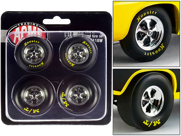 "Drag Wheel and Tire  (4 Piece Set) from a ""1972 Plymouth HEMI Drag Barracuda"" 1/18 by Acme"