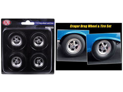 1957 Chevrolet Bel Air Hot Rod Cragar Drag Wheels and Tires (Set of 4) 1/18 Diecast by Acme