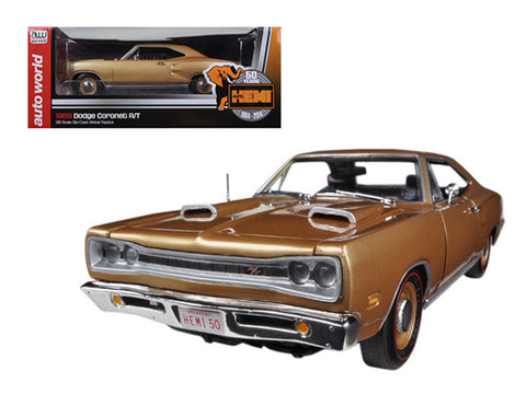 "1969 Dodge Coronet R/T Light Bronze Poly HEMI ""50th Anniversary"" Limited to 1250pcs 1/18 Diecast Model Car by Autoworld"