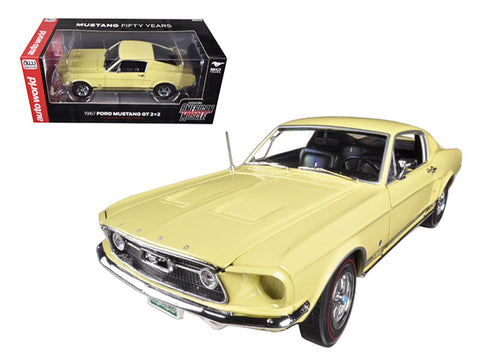"1967 Ford Mustang 2+2 GT Aspen Gold Limited to 1250pcs ""50th Anniversary"" 1/18 Diecast Model Car by Autoworld"