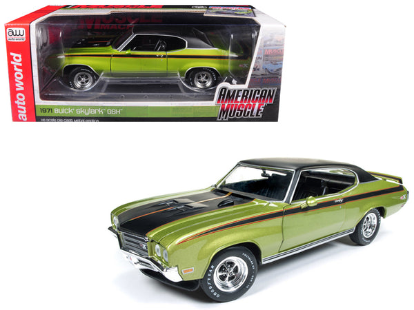 "1971 Buick Skylark GSX Limemist Green with Black Hardtop and Black Stripes ""Hemmings Muscle Machines"" Magazine Limited Edition to 702 pieces Worldwide 1/18 Diecast Model Car by Autoworld"